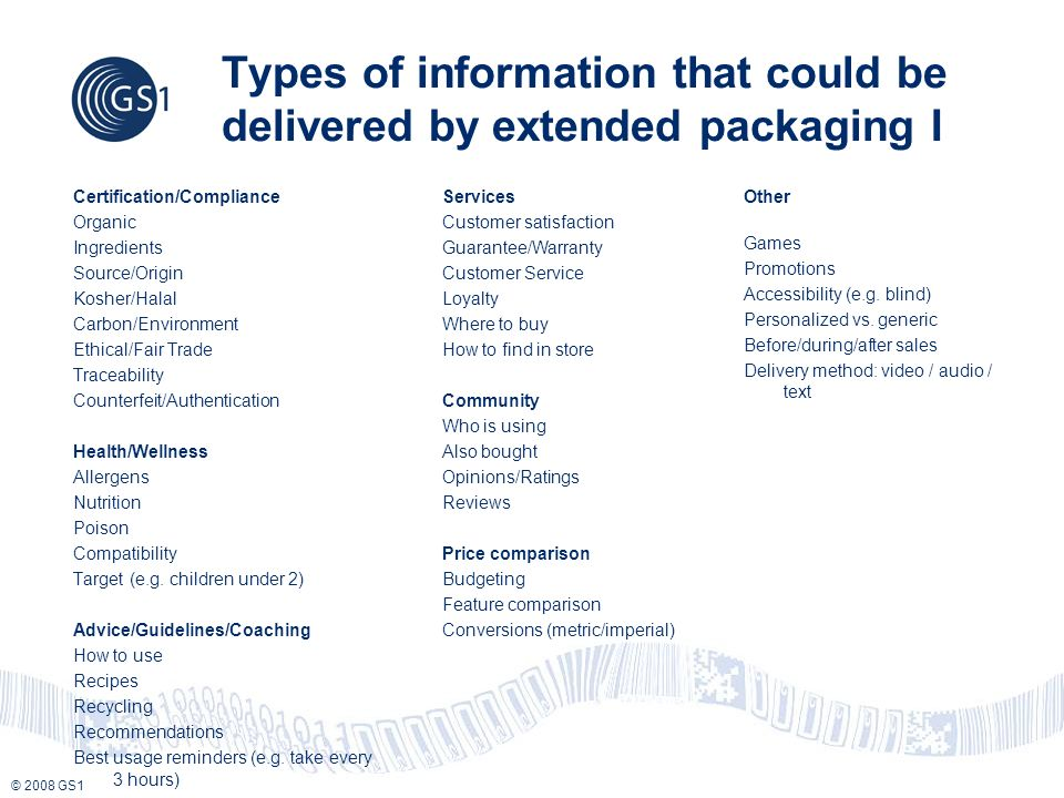 © 2008 GS1 Types of information that could be delivered by extended packaging I Certification/Compliance Organic Ingredients Source/Origin Kosher/Halal Carbon/Environment Ethical/Fair Trade Traceability Counterfeit/Authentication Health/Wellness Allergens Nutrition Poison Compatibility Target (e.g.