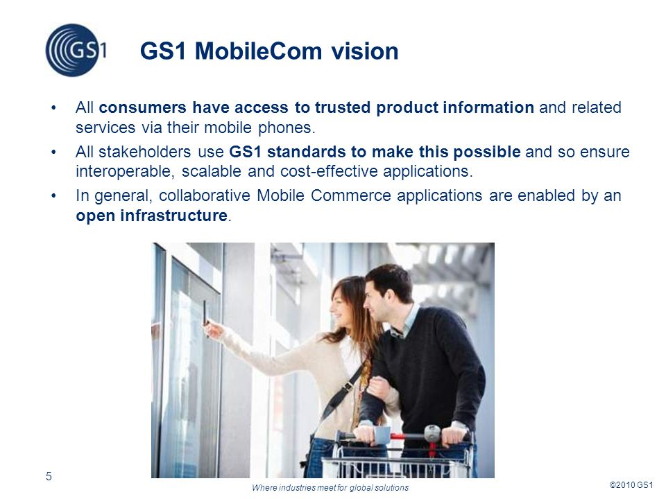 Where industries meet for global solutions ©2010 GS1 5 GS1 MobileCom vision All consumers have access to trusted product information and related services via their mobile phones.