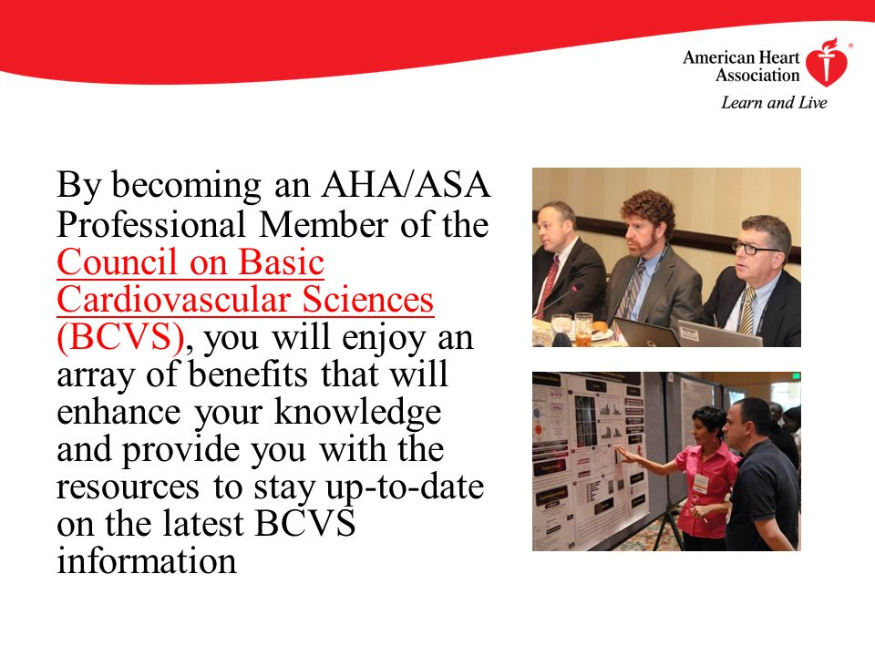 By becoming an AHA/ASA Professional Member of the Council on Basic Cardiovascular Sciences (BCVS), you will enjoy an array of benefits that will enhance your knowledge and provide you with the resources to stay up-to-date on the latest BCVS information Council on Basic Cardiovascular Sciences