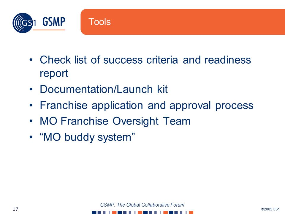 ©2005 GS1 17 GSMP: The Global Collaborative Forum Tools Check list of success criteria and readiness report Documentation/Launch kit Franchise application and approval process MO Franchise Oversight Team MO buddy system
