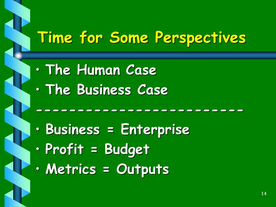 14 Time for Some Perspectives The Human CaseThe Human Case The Business CaseThe Business Case------------------------- Business = EnterpriseBusiness = Enterprise Profit = BudgetProfit = Budget Metrics = OutputsMetrics = Outputs
