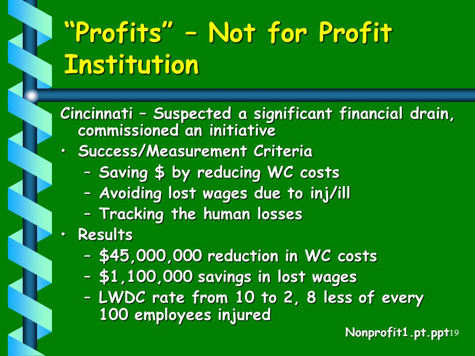 19 Profits – Not for Profit Institution Cincinnati – Suspected a significant financial drain, commissioned an initiative Success/Measurement CriteriaSuccess/Measurement Criteria –Saving $ by reducing WC costs –Avoiding lost wages due to inj/ill –Tracking the human losses ResultsResults –$45,000,000 reduction in WC costs –$1,100,000 savings in lost wages –LWDC rate from 10 to 2, 8 less of every 100 employees injured Nonprofit1.pt.ppt