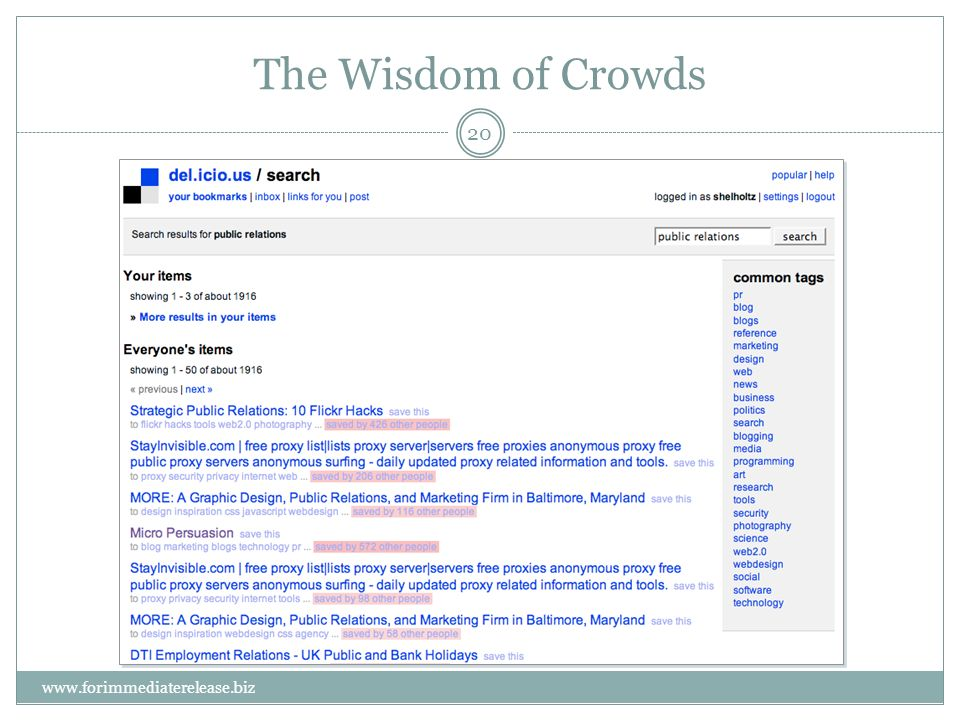 20 www.forimmediaterelease.biz The Wisdom of Crowds