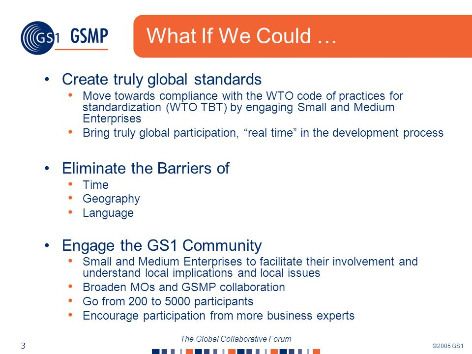 ©2005 GS1 3 The Global Collaborative Forum What If We Could … Create truly global standards Move towards compliance with the WTO code of practices for standardization (WTO TBT) by engaging Small and Medium Enterprises Bring truly global participation, real time in the development process Eliminate the Barriers of Time Geography Language Engage the GS1 Community Small and Medium Enterprises to facilitate their involvement and understand local implications and local issues Broaden MOs and GSMP collaboration Go from 200 to 5000 participants Encourage participation from more business experts