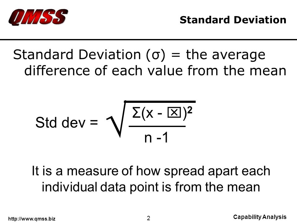 http://www.qmss.biz Capability Analysis 2 Standard Deviation Standard Deviation (σ) = the average difference of each value from the mean Σ(x - ) 2 n -1 Std dev = It is a measure of how spread apart each individual data point is from the mean