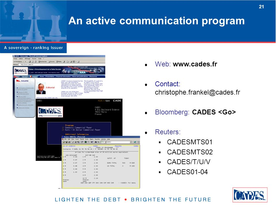 21 An active communication program Web: www.cades.fr Contact: christophe.frankel@cades.fr Bloomberg: CADES Reuters: CADESMTS01 CADESMTS02 CADES/T/U/V CADES01-04