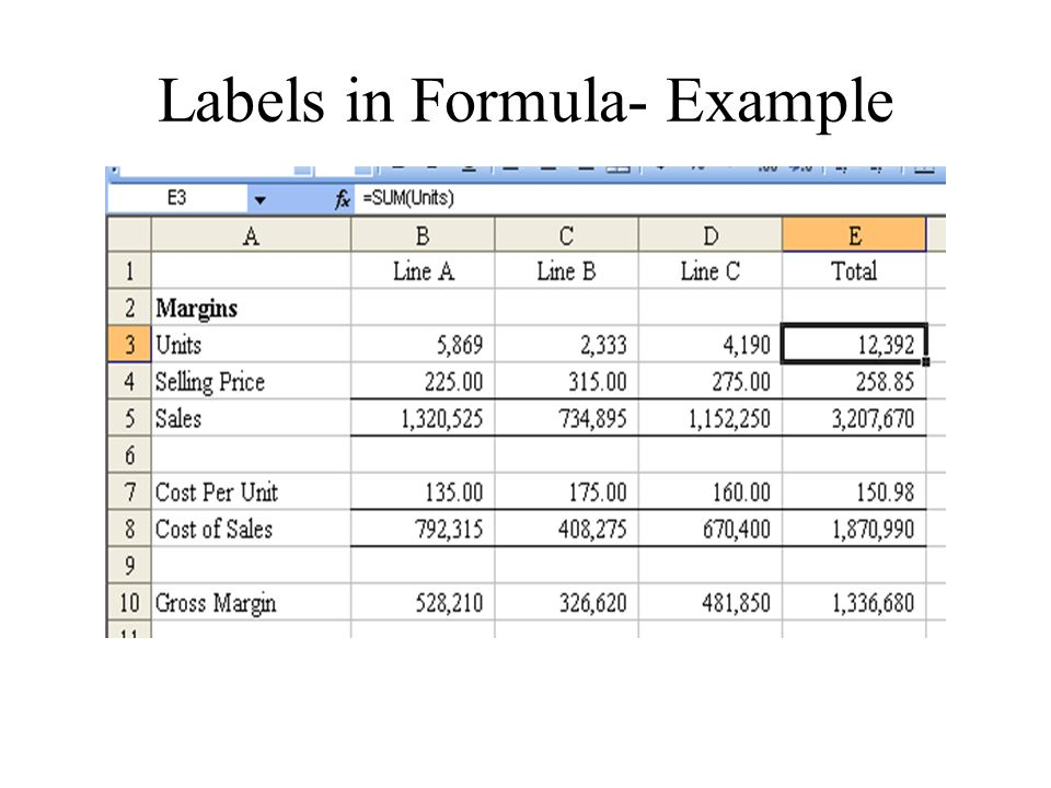 Labels in Formula- Example