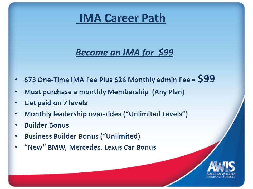 IMA Career Path Become an IMA for $99 $73 One-Time IMA Fee Plus $26 Monthly admin Fee = $99 Must purchase a monthly Membership (Any Plan) Get paid on 7 levels Monthly leadership over-rides (Unlimited Levels) Builder Bonus Business Builder Bonus (Unlimited) New BMW, Mercedes, Lexus Car Bonus