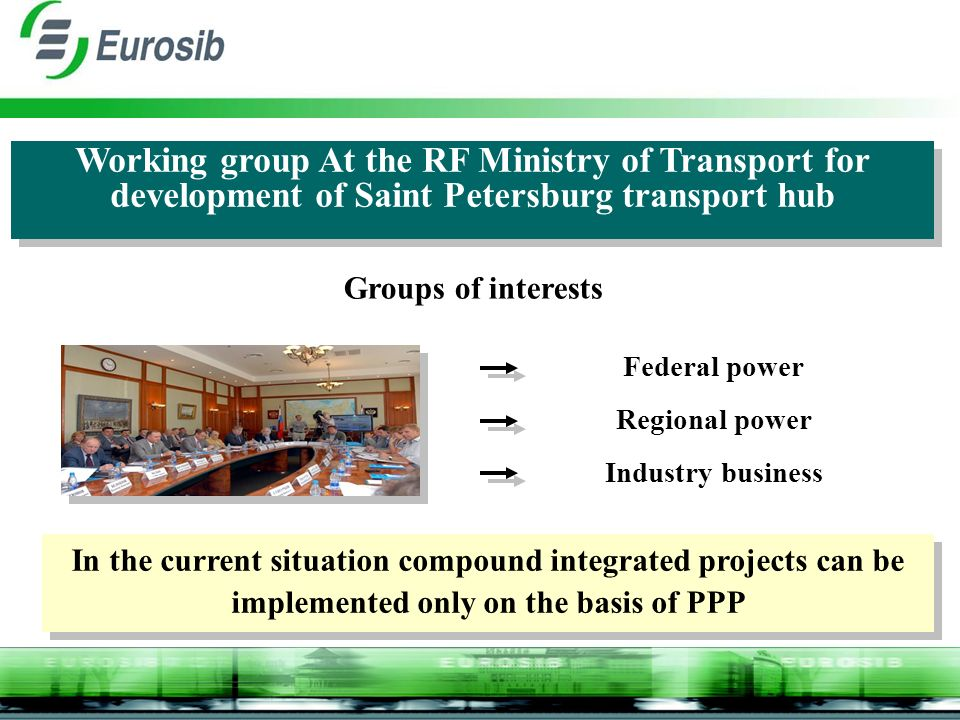 Federal power Regional power Industry business Working group At the RF Ministry of Transport for development of Saint Petersburg transport hub In the current situation compound integrated projects can be implemented only on the basis of PPP Groups of interests