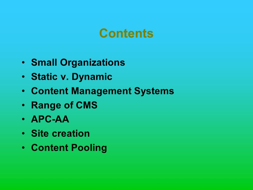 Contents Small Organizations Static v.