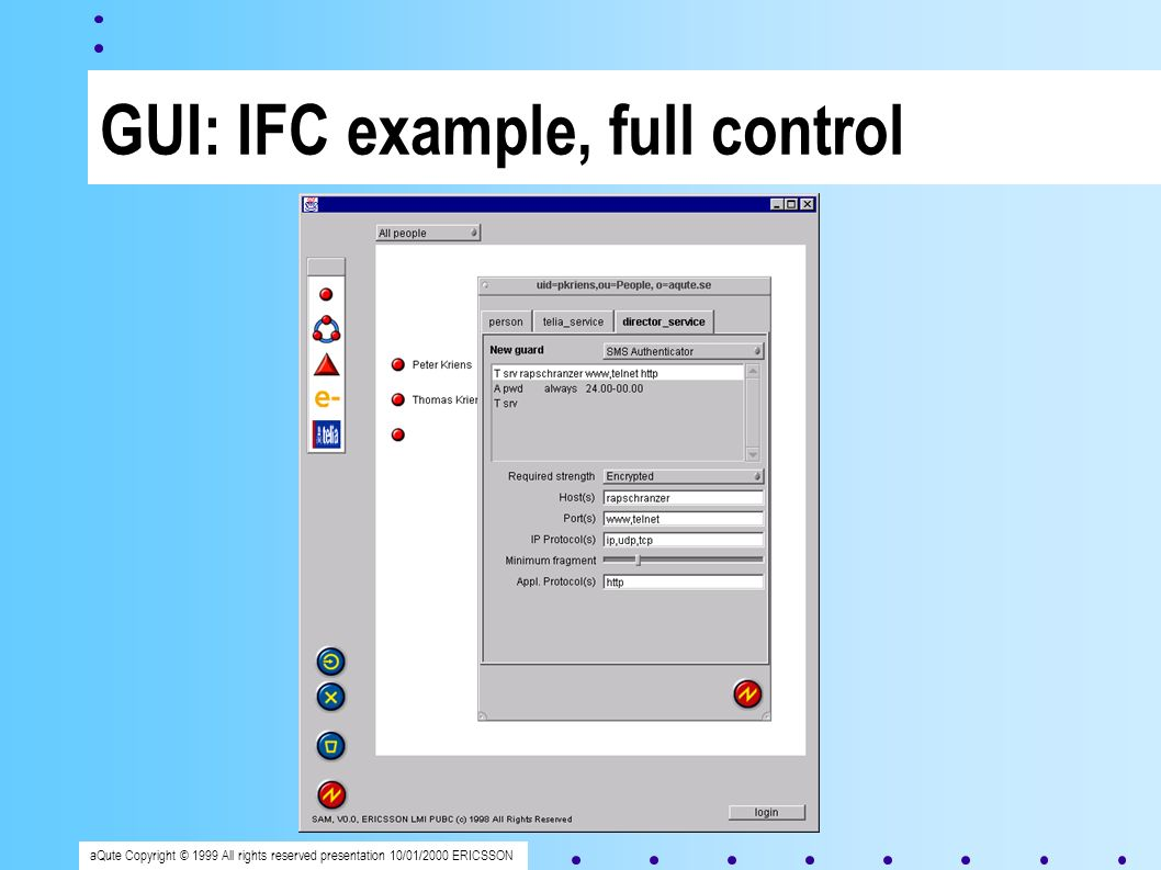 aQute Copyright © 1999 All rights reserved presentation 10/01/2000 ERICSSON GUI: IFC example, full control