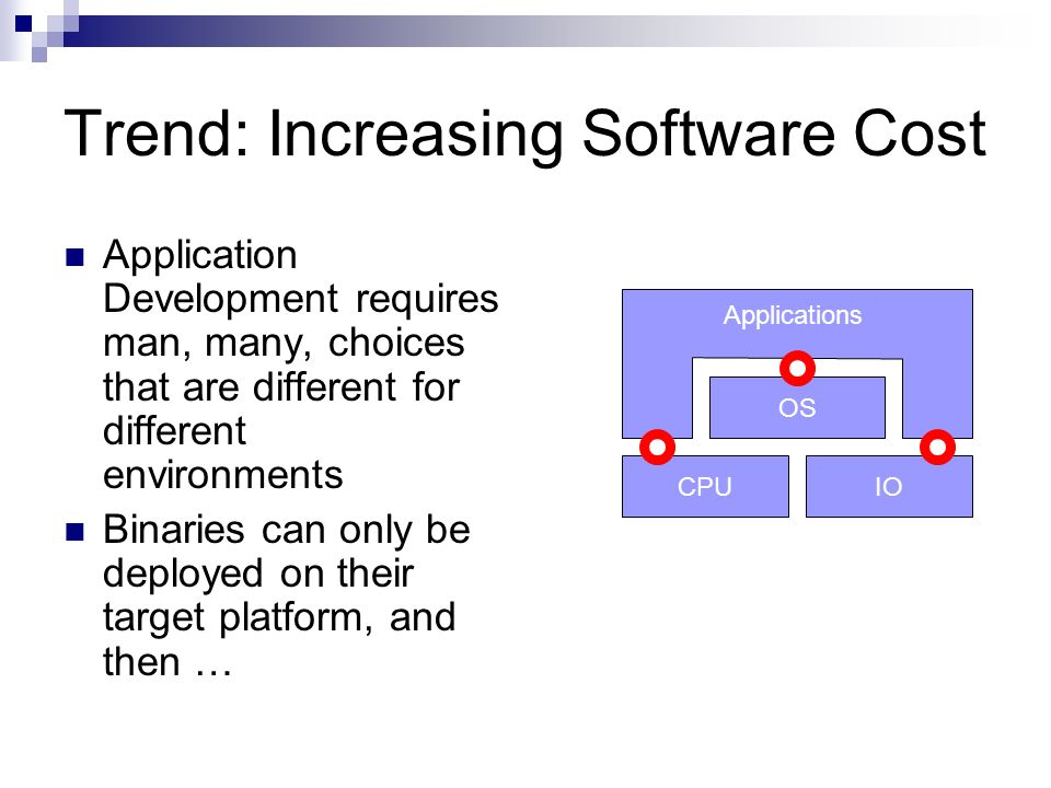 IOCPU OS Trend: Increasing Software Cost Application Development requires man, many, choices that are different for different environments Binaries can only be deployed on their target platform, and then … Applications
