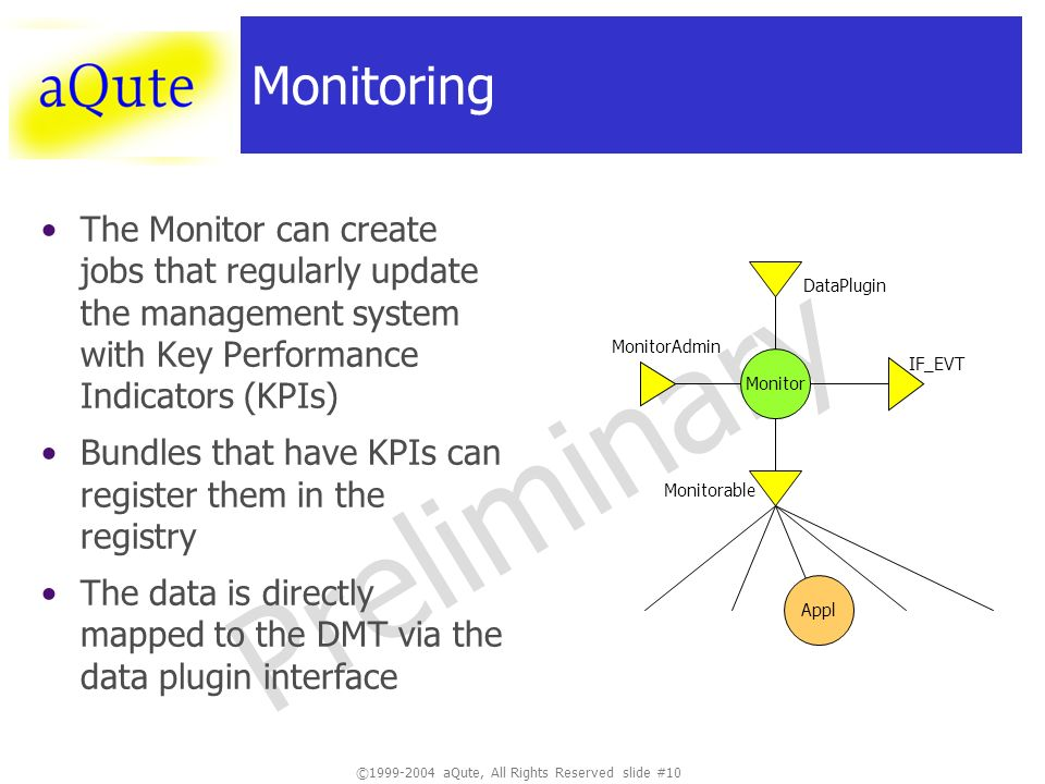 ©1999-2004 aQute, All Rights Reserved slide #10 Preliminary Monitoring The Monitor can create jobs that regularly update the management system with Key Performance Indicators (KPIs) Bundles that have KPIs can register them in the registry The data is directly mapped to the DMT via the data plugin interface Monitor Monitorable MonitorAdmin Appl DataPlugin IF_EVT