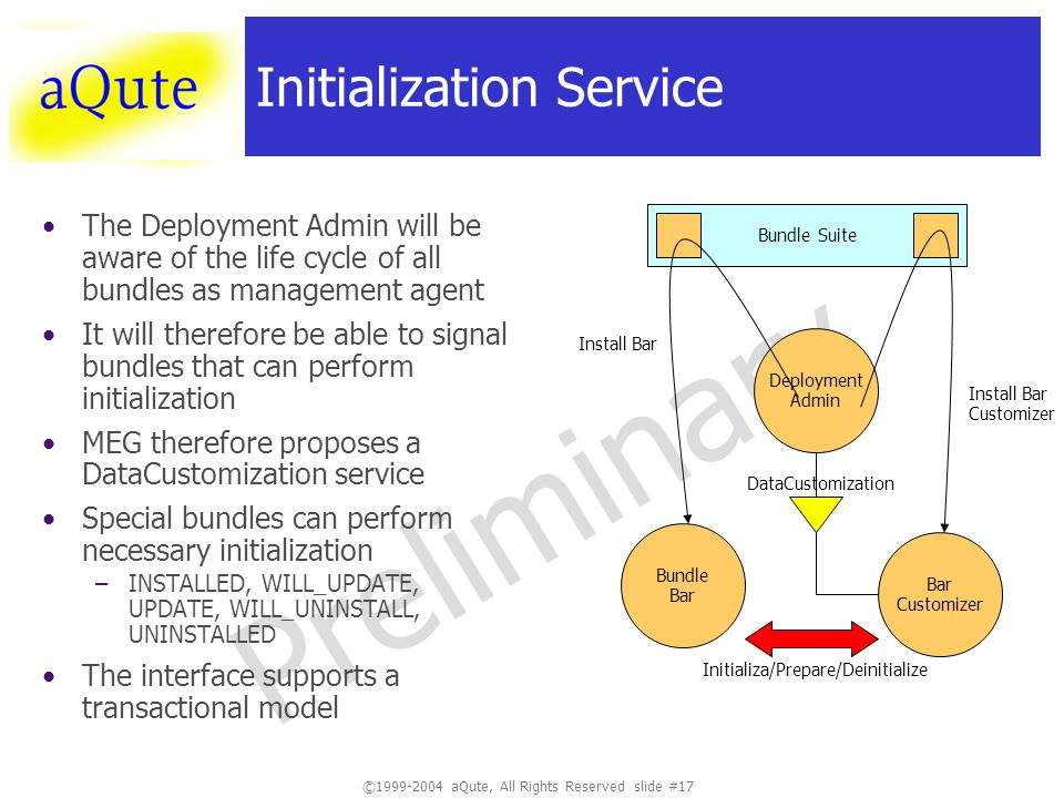 ©1999-2004 aQute, All Rights Reserved slide #17 Preliminary Initialization Service The Deployment Admin will be aware of the life cycle of all bundles as management agent It will therefore be able to signal bundles that can perform initialization MEG therefore proposes a DataCustomization service Special bundles can perform necessary initialization –INSTALLED, WILL_UPDATE, UPDATE, WILL_UNINSTALL, UNINSTALLED The interface supports a transactional model Bar Customizer Bundle Bar Deployment Admin Bundle Suite Install Bar Customizer DataCustomization Initializa/Prepare/Deinitialize