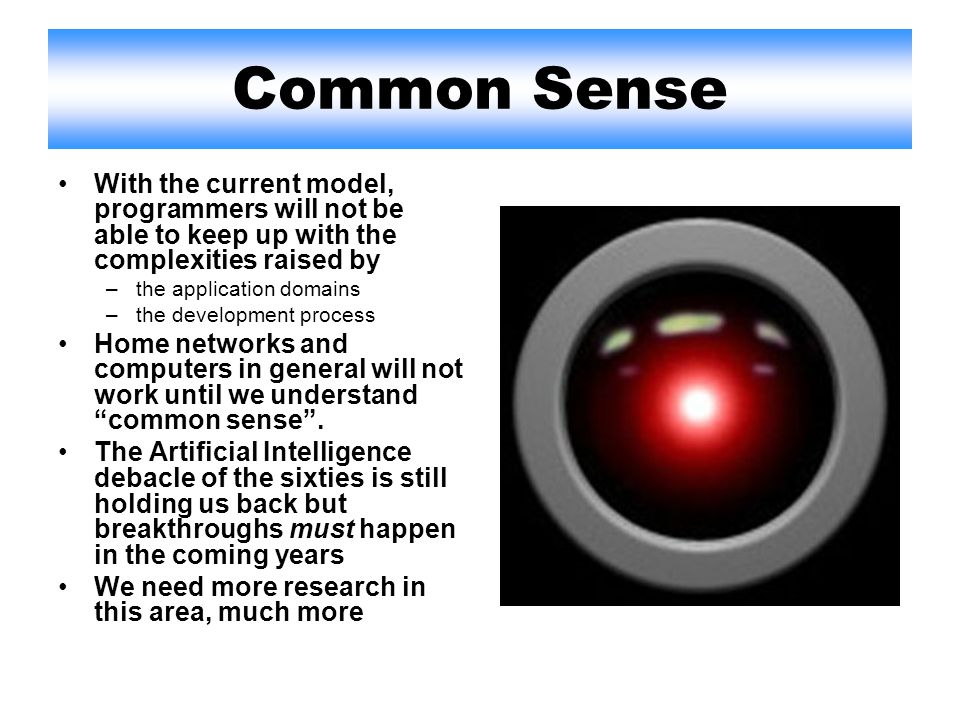 Common Sense With the current model, programmers will not be able to keep up with the complexities raised by –the application domains –the development process Home networks and computers in general will not work until we understand common sense.