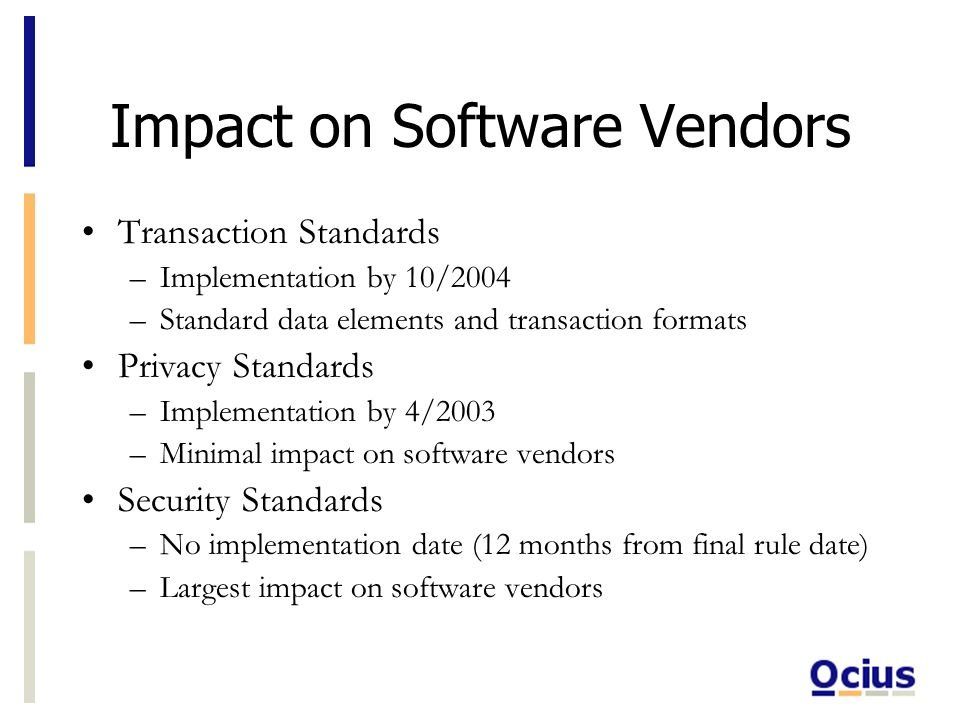Impact on Software Vendors Transaction Standards –Implementation by 10/2004 –Standard data elements and transaction formats Privacy Standards –Implementation by 4/2003 –Minimal impact on software vendors Security Standards –No implementation date (12 months from final rule date) –Largest impact on software vendors