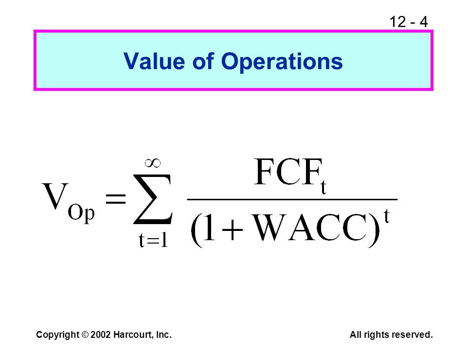 12 - 4 Copyright © 2002 Harcourt, Inc.All rights reserved. Value of Operations