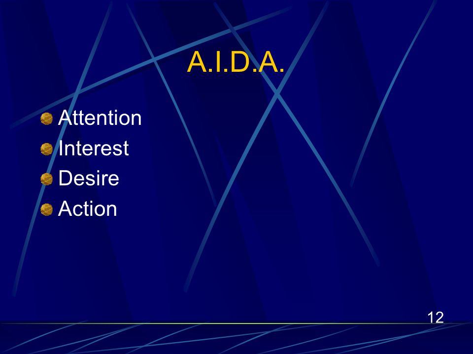 12 A.I.D.A. Attention Interest Desire Action