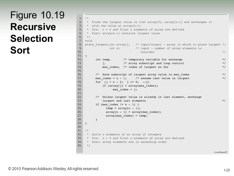 1-25 © 2010 Pearson Addison-Wesley. All rights reserved. 1-25 Figure 10.19 Recursive Selection Sort
