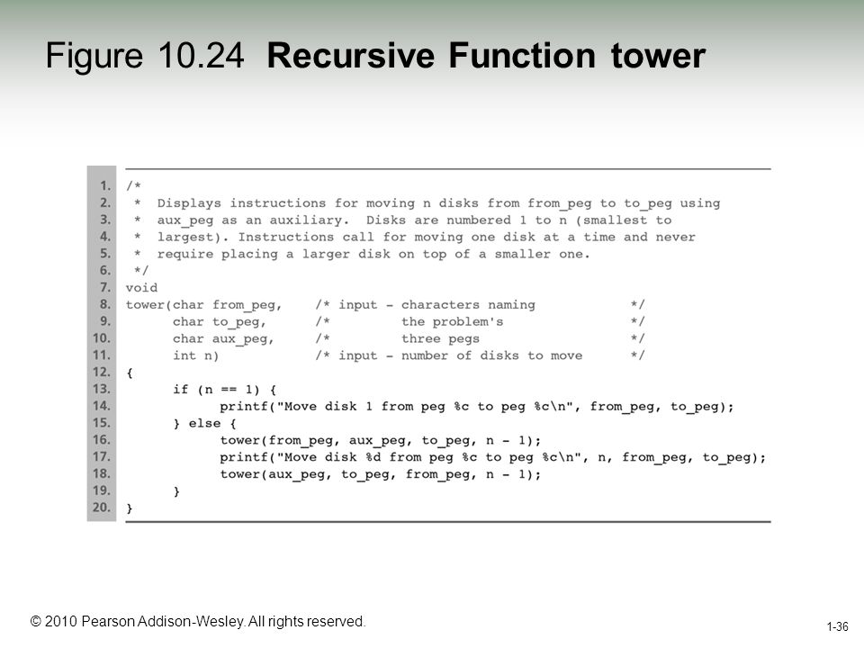 1-36 © 2010 Pearson Addison-Wesley. All rights reserved. 1-36 Figure 10.24 Recursive Function tower