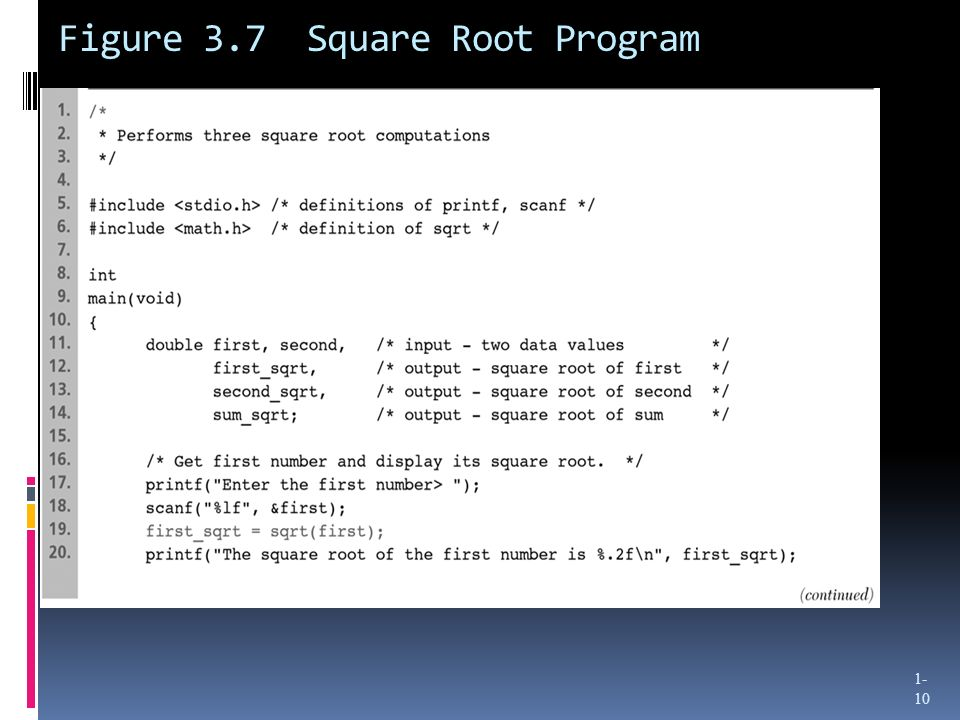 Figure 3.7 Square Root Program 1- 10