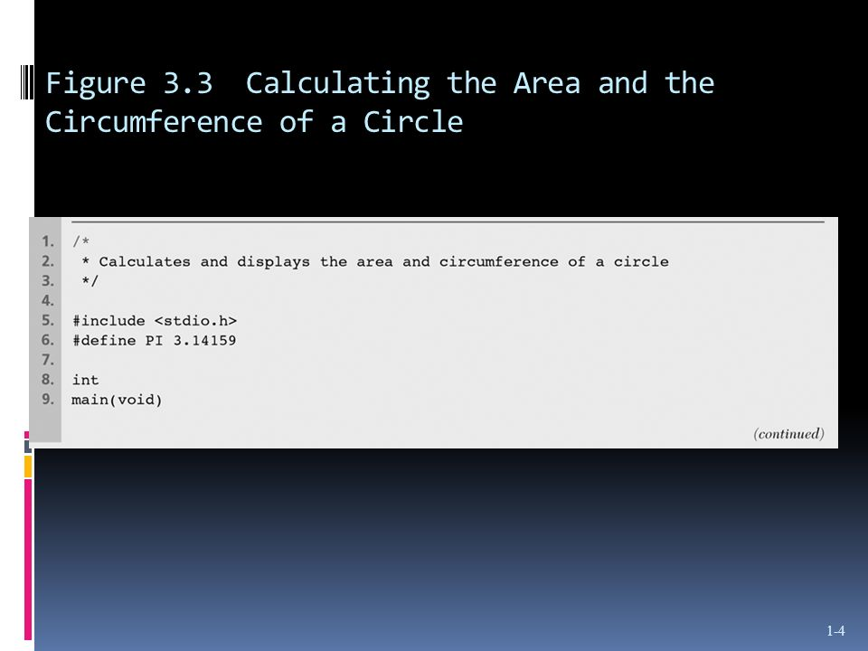 Figure 3.3 Calculating the Area and the Circumference of a Circle 1-4