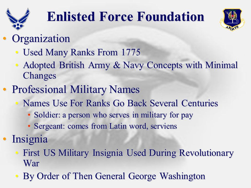 Overview Enlisted Force FoundationEnlisted Force Foundation US Air Force Enlisted Force EvolutionUS Air Force Enlisted Force Evolution World War IIWorld War II The Career ForceThe Career Force CMSAF and SEAsCMSAF and SEAs The Enlisted Force StructureThe Enlisted Force Structure General ResponsibilitiesGeneral Responsibilities Enlisted EducationEnlisted Education