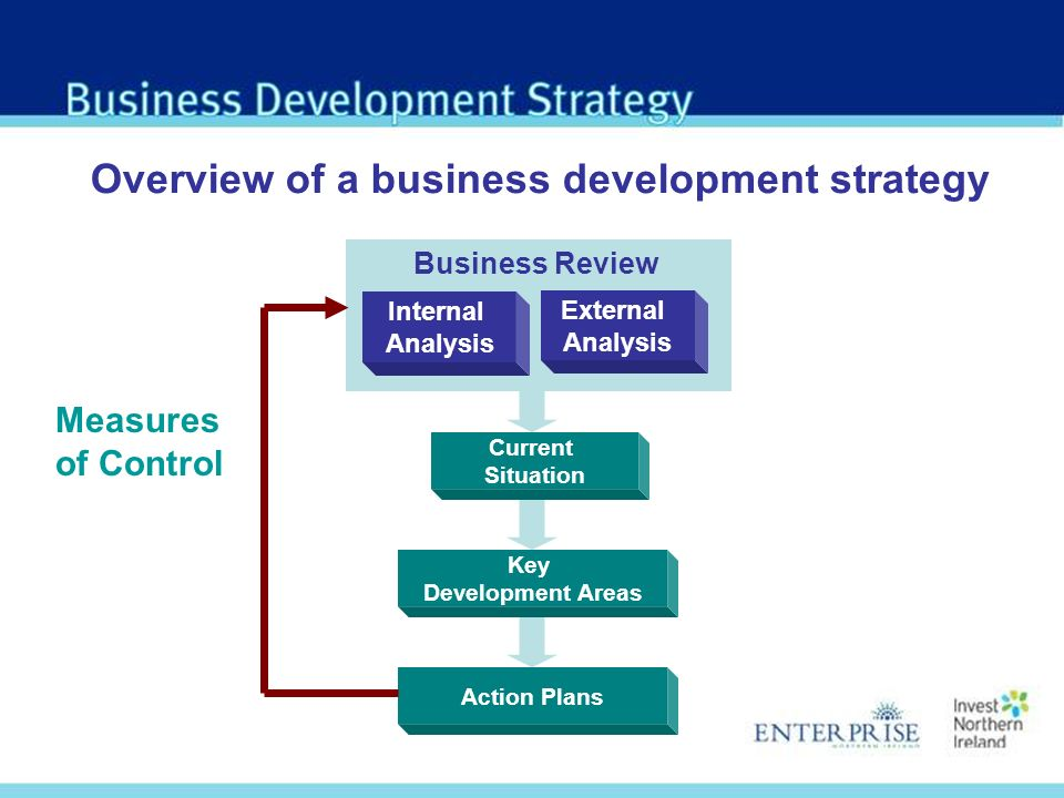 External Analysis Internal Analysis Key Development Areas Overview of a business development strategy Current Situation Action Plans Measures of Control Business Review