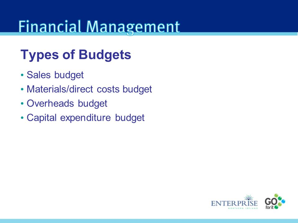 Types of Budgets Sales budget Materials/direct costs budget Overheads budget Capital expenditure budget