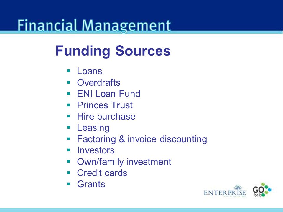 Funding Sources Loans Overdrafts ENI Loan Fund Princes Trust Hire purchase Leasing Factoring & invoice discounting Investors Own/family investment Credit cards Grants
