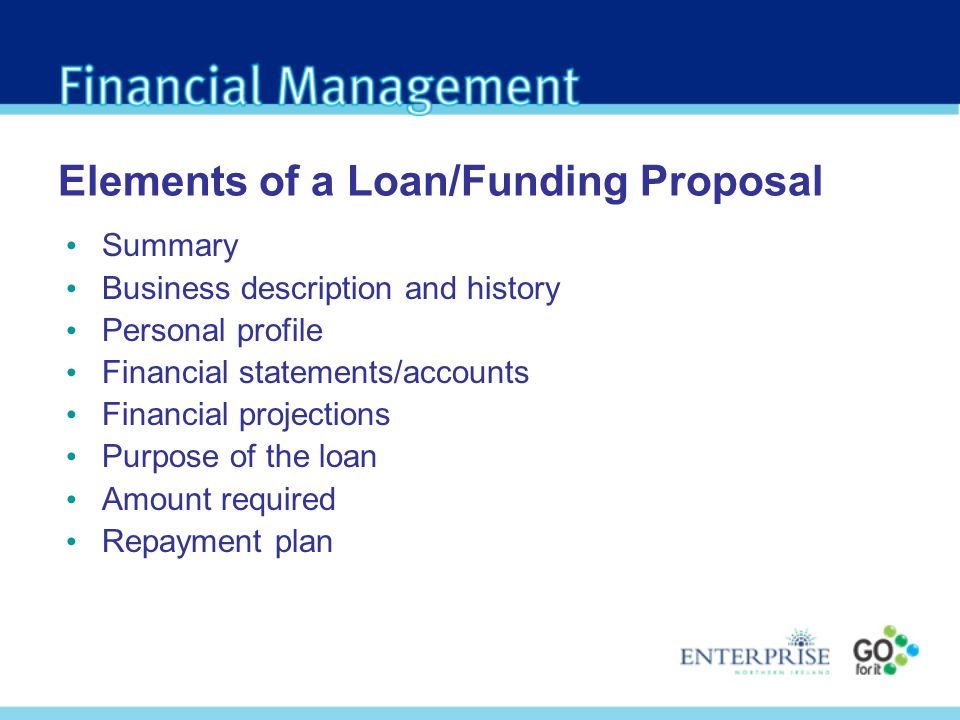 Elements of a Loan/Funding Proposal Summary Business description and history Personal profile Financial statements/accounts Financial projections Purpose of the loan Amount required Repayment plan
