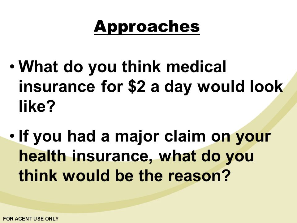 FOR AGENT USE ONLY Approaches What do you think medical insurance for $2 a day would look like.