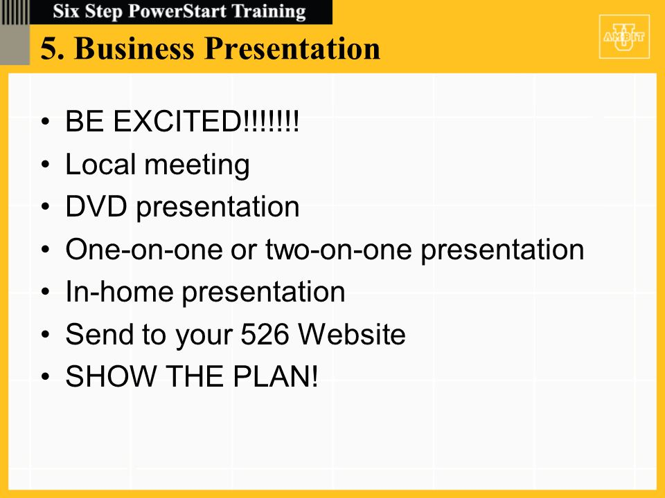 5. Business Presentation BE EXCITED!!!!!!.