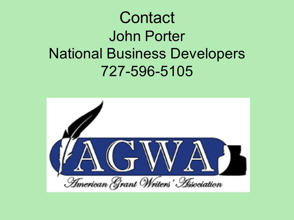 Contact John Porter National Business Developers 727-596-5105