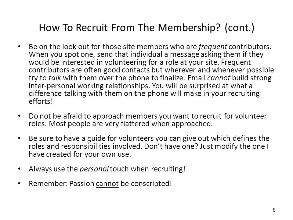 How To Recruit From The Membership.