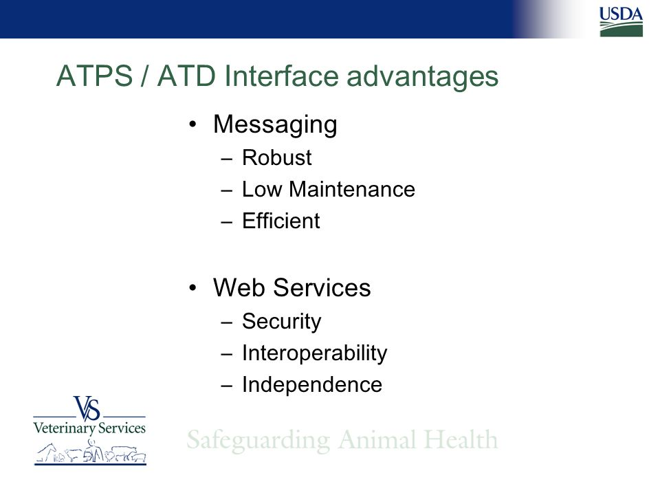 ATPS / ATD Interface advantages Messaging –Robust –Low Maintenance –Efficient Web Services –Security –Interoperability –Independence