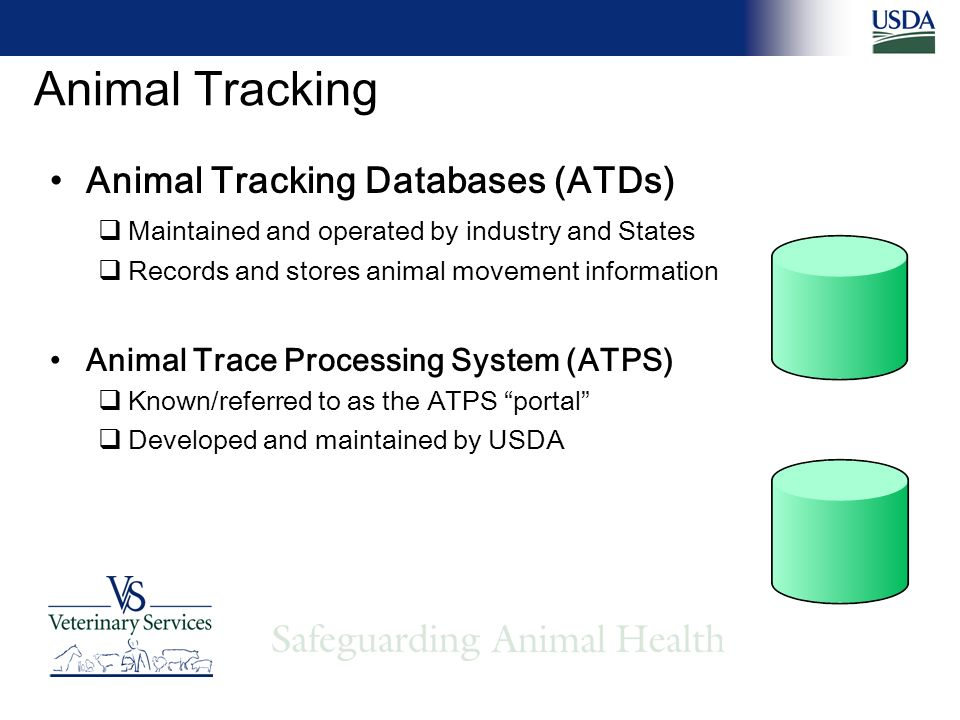 Animal Tracking Animal Tracking Databases (ATDs) Maintained and operated by industry and States Records and stores animal movement information Animal Trace Processing System (ATPS) Known/referred to as the ATPS portal Developed and maintained by USDA