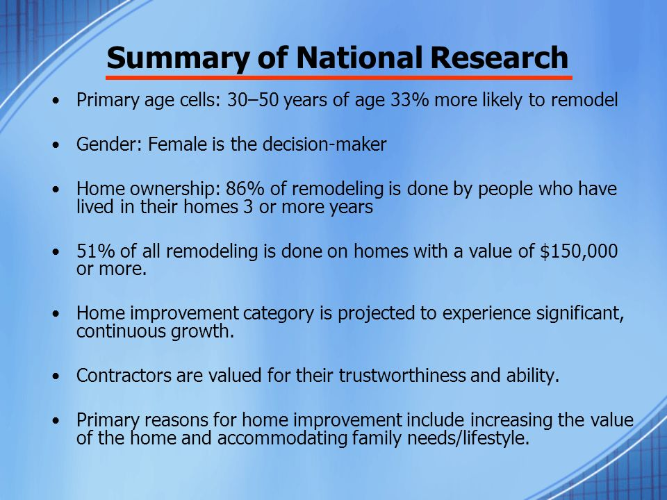 Summary of National Research Primary age cells: 30–50 years of age 33% more likely to remodel Gender: Female is the decision-maker Home ownership: 86% of remodeling is done by people who have lived in their homes 3 or more years 51% of all remodeling is done on homes with a value of $150,000 or more.