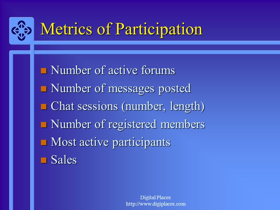 Digital Places http://www.digiplaces.com Metrics of Participation Number of active forums Number of active forums Number of messages posted Number of messages posted Chat sessions (number, length) Chat sessions (number, length) Number of registered members Number of registered members Most active participants Most active participants Sales Sales