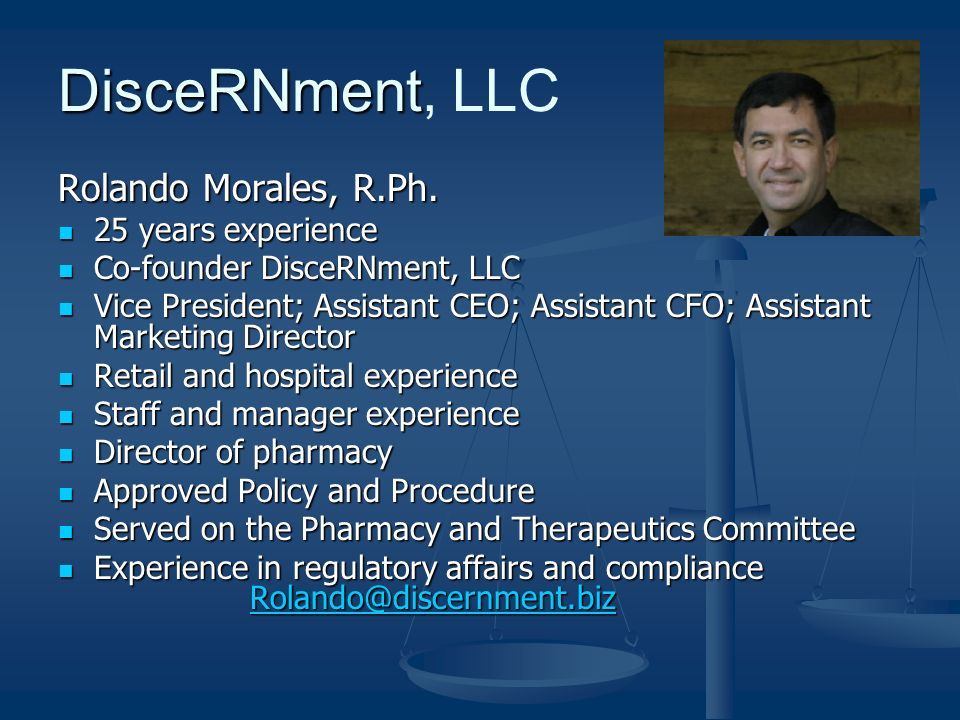 DisceRNment DisceRNment, LLC Rolando Morales, R.Ph.
