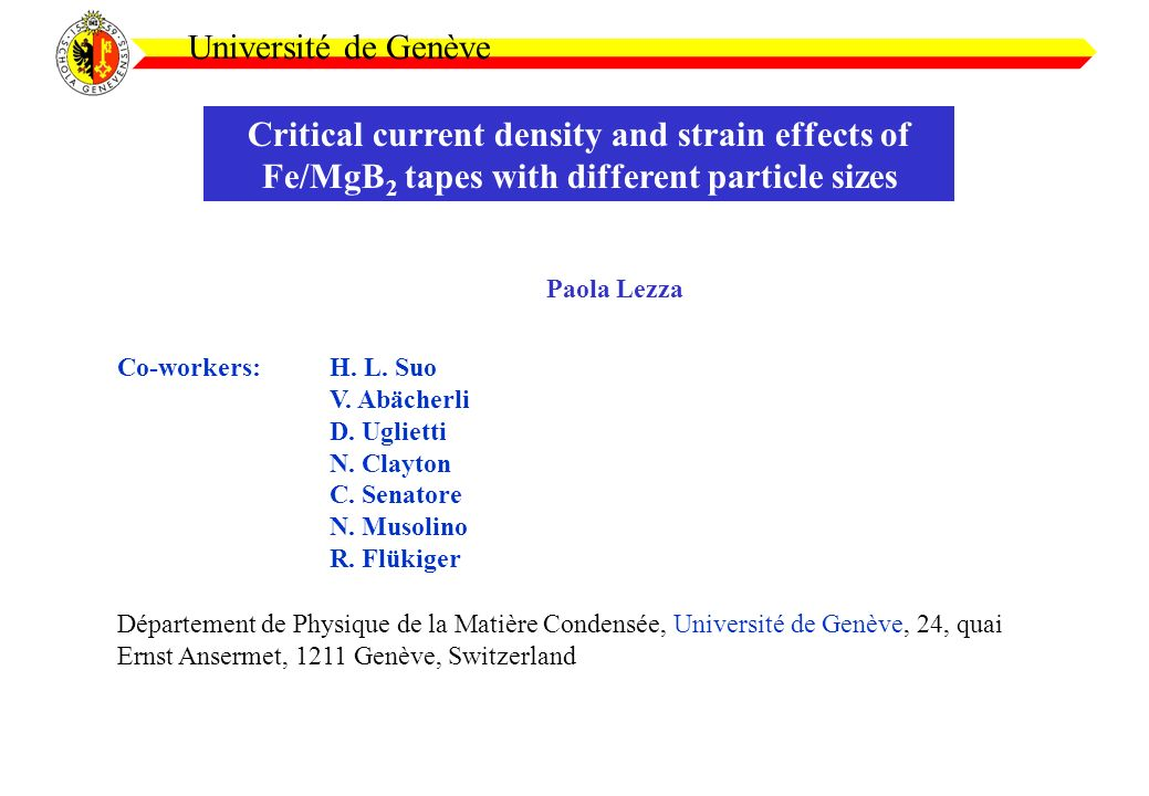 Critical current density and strain effects of Fe/MgB 2 tapes with different particle sizes Université de Genève Paola Lezza Co-workers:H.