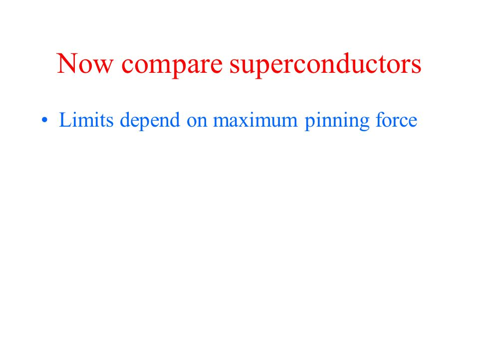 Now compare superconductors Limits depend on maximum pinning force