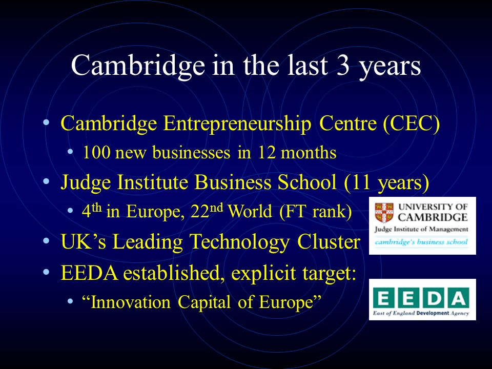 Cambridge in the last 3 years Cambridge Entrepreneurship Centre (CEC) 100 new businesses in 12 months Judge Institute Business School (11 years) 4 th in Europe, 22 nd World (FT rank) UKs Leading Technology Cluster EEDA established, explicit target: Innovation Capital of Europe