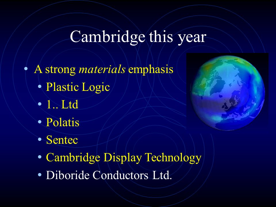 Cambridge this year A strong materials emphasis Plastic Logic 1..