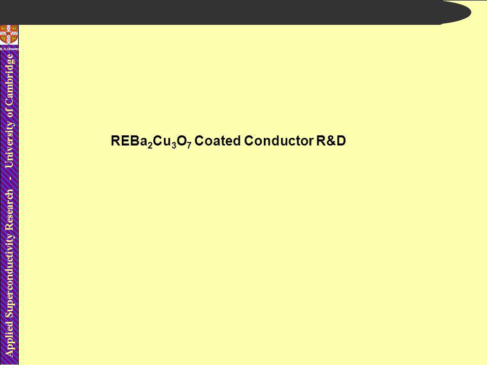 Applied Superconductivity Research - University of Cambridge B.A.Glowacki REBa 2 Cu 3 O 7 Coated Conductor R&D