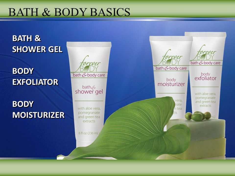 BATH & SHOWER GEL BODY EXFOLIATOR BODY MOISTURIZER BATH & SHOWER GEL BODY EXFOLIATOR BODY MOISTURIZER BATH & BODY BASICS