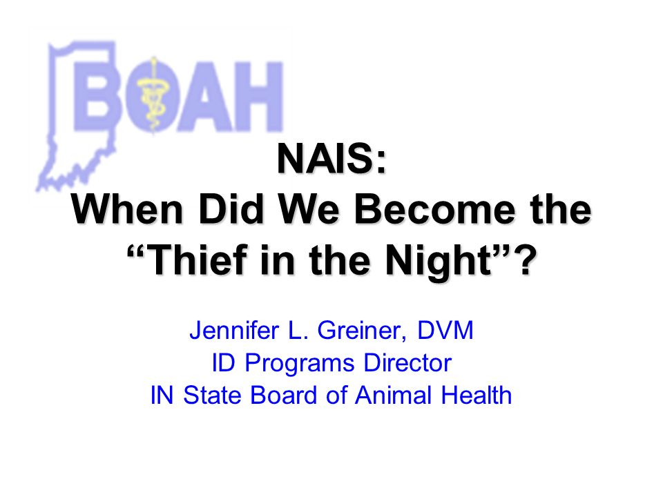 NAIS: When Did We Become the Thief in the Night. Jennifer L.