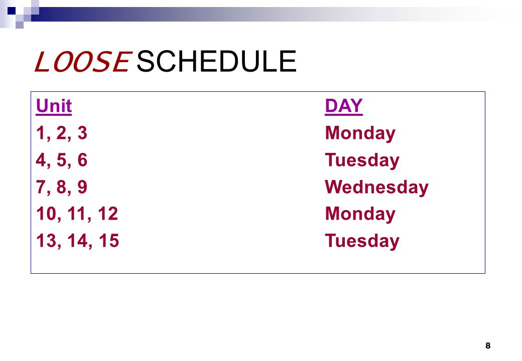 8 LOOSE SCHEDULE UnitDAY 1, 2, 3Monday 4, 5, 6Tuesday 7, 8, 9Wednesday 10, 11, 12Monday 13, 14, 15Tuesday