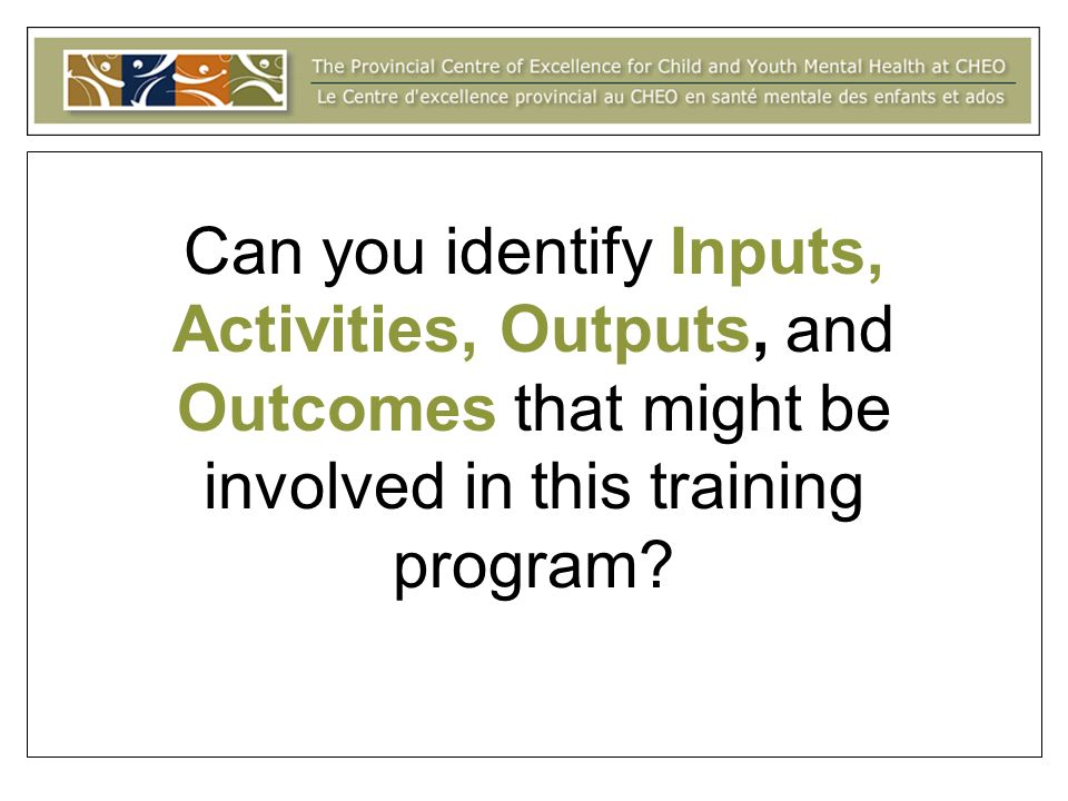 Can you identify Inputs, Activities, Outputs, and Outcomes that might be involved in this training program