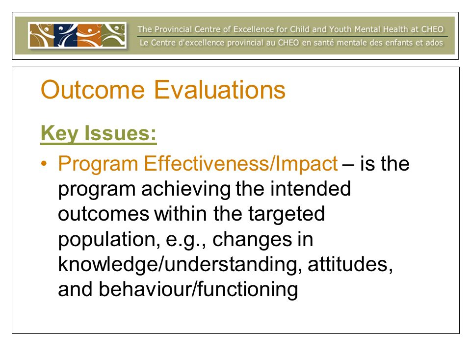 Outcome Evaluations Key Issues: Program Effectiveness/Impact – is the program achieving the intended outcomes within the targeted population, e.g., changes in knowledge/understanding, attitudes, and behaviour/functioning